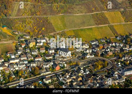 People Village with vineyards in autumn, vineyards, Rhine Valley, Rhineland-Palatinate, Germany - Stock Photo