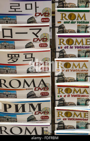 Rome, Italy.  Guide books about Rome in many different languages. - Stock Photo
