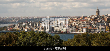Istanbul, Turkey Landscape across the Bosphorus and Galata Tower - Stock Photo