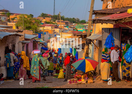 A bustling street in Harar, Ethiopia. - Stock Photo