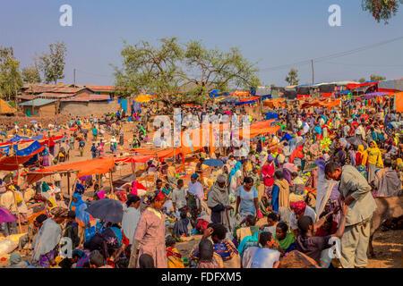 Sunday market in Lalibela Ethiopia. - Stock Photo