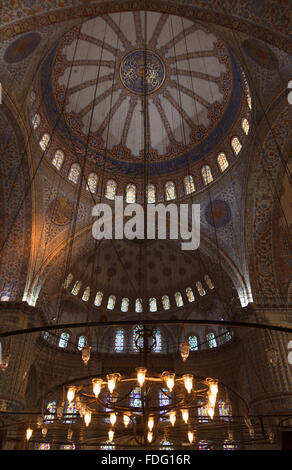 Interior of the Blue Mosque, Istanbul. Turkey - Stock Photo