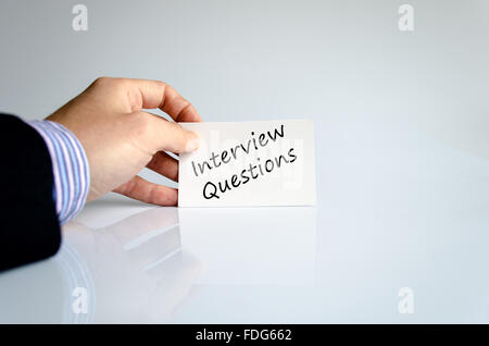Interview questions text concept isolated over white background ...