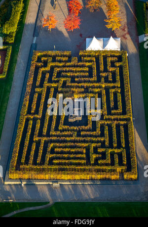 Aerial view, hedge maze, labyrinth, maze, Sauerland Hemer, Hemer, Sauerland, North Rhine-Westphalia, Germany, Europe, - Stock Photo