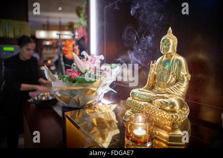 Busaba Thai restaurant exterior at Manchester Printworks   Restaurant dining food eating eating drinking  out date - Stock Photo