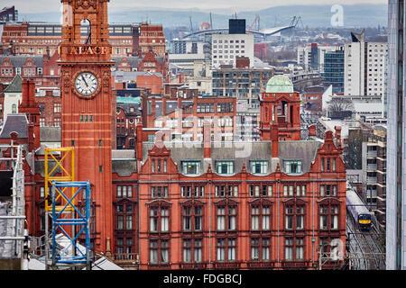 Manchester skyline    Palace Hotel clock tower and there MCFC stadium The City of Manchester Stadium Etihad Stadium - Stock Photo