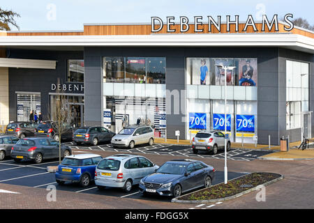 Debenhams department store shop front & free car parking in the Elliotts Field shopping centre retail park Rugby - Stock Photo