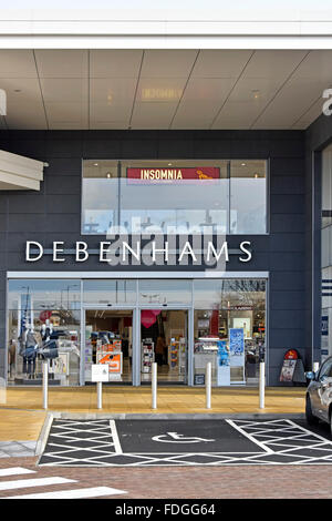 Debenhams department store disabled car parking bay main entrance with Insomnia coffee shop at first floor in Elliotts - Stock Photo