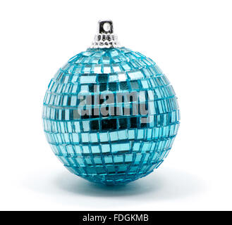 Isolated blue Christmas tree ball with glitters over white - Stock Photo