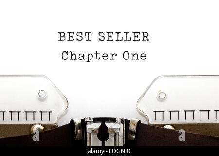 Best Seller Chapter One printed on retro typewriter. Bestseller concept. - Stock Photo