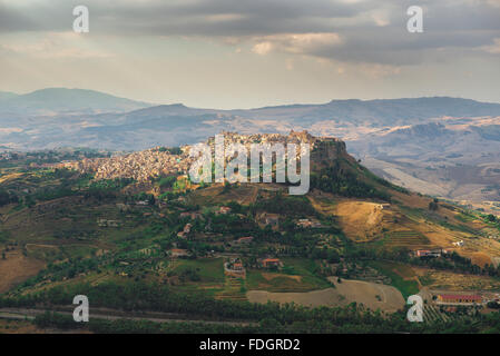 Sicilian landscape, aerial view of the hill-top town of Calascibetta in the centre of Sicily. - Stock Photo