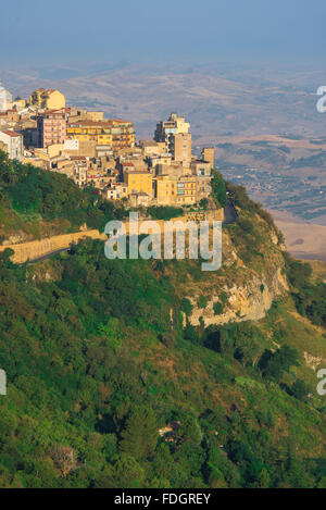 Enna Sicily, view of the city of Enna and its surrounding landscape sited at the centre of the island of Sicily. - Stock Photo