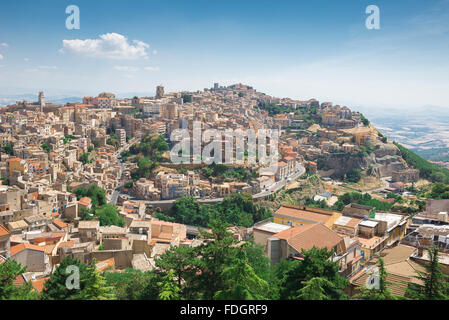 Sicily hill town, aerial view of the city of Enna, situated high on a hill in the middle of the island of Sicily. - Stock Photo