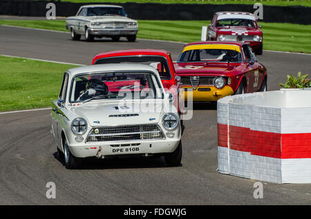1963 Lotus Cortina Mk1 is owned and was raced by Matt Neal at the 2015 Goodwood Revival. Space for copy - Stock Photo