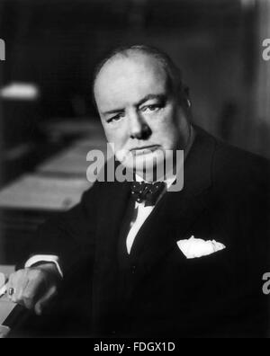 Winston Churchill. Portrait of British Prime Minister Sir Winston Churchill, c.1941 - Stock Photo
