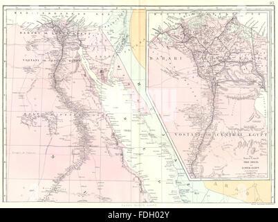 EGYPT Nile Delta Suez Canal Cairo Antique Map Stock - Map of egypt delta