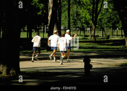 Washington, DC., USA, 11th July, 1993 President Clinton goes jogging around West Potomac Park. Credit: Mark Reinstein - Stock Photo