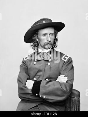 George Armstrong Custer. Portrait of General George Custer (1839 –1876), a United States Army officer and cavalry - Stock Photo