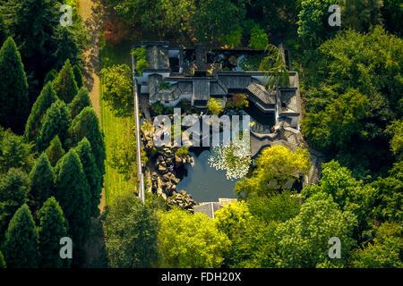 Aerial view, Chinese Garden at the Botanical Garden of the RUB, Ruhr University Bochum, Bochum, Ruhr region, - Stock Photo