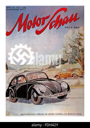 VOLKSWAGEN SWASTIKA HITLER Motor Show magazine cover Berlin Germany 1938 with Volkswagen cars and mechanised Swastika - Stock Photo