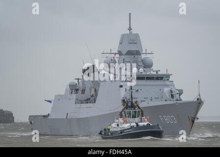 The Dutch Navy (Koninklijke Marine) frigate HNLMS Tromp (F803) arriving at Portsmouth, UK on the 29th January 2016. - Stock Photo
