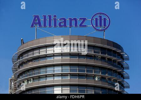 Allianz logo on a building in Prague, Czech Republic - Stock Photo