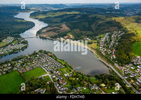 Aerial view, Amecke southern shore of Lake Sorpesee, coastal road, parking, Sundern (Sauerland), South Westphalia, - Stock Photo