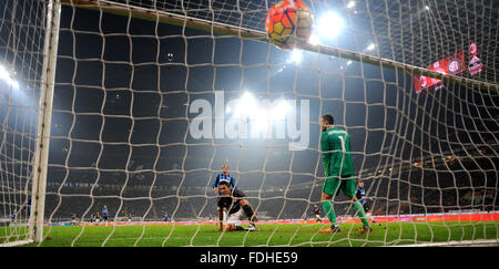 Milan. 31st Jan, 2016. AC Milan's Carlos Bacca (L) goals during the Serie A football match between AC Milan and - Stock Photo
