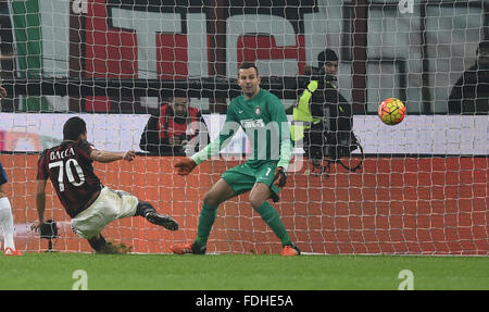 Milan. 31st Jan, 2016. AC Milan's Carlos Bacca shoots during the Serie A football match between AC Milan and Inter - Stock Photo