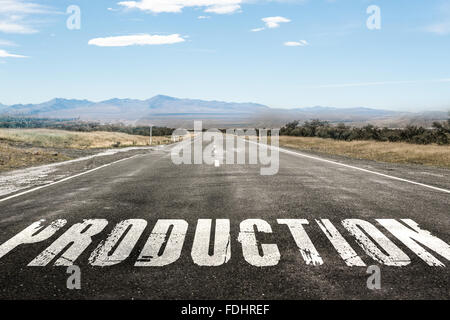 Concept image of Accounting Business Acronym PO Production Order written over road marking yellow paint line. - Stock Photo