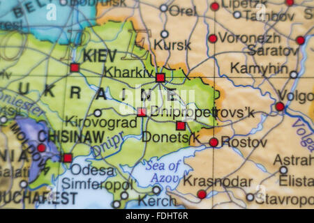 Photo of a map of Ukraine and the capital Kiev . - Stock Photo