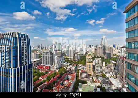 Elevated view of Lumphini Subdistrict. Pathum Wan District, Bangkok, Thailand. - Stock Photo