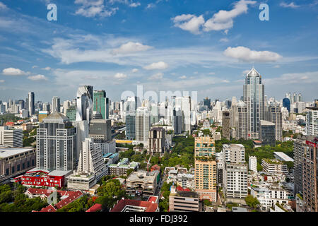 Elevated view of modern high-rise buildings in the central part of Bangkok, Thailand. - Stock Photo