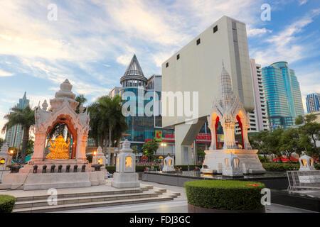 Ganesha Shrine near CentralWorld Shopping Complex. Bangkok, Thailand. - Stock Photo