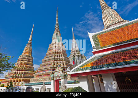 Phra Maha Chedi Si Rajakarn, The Great Pagodas of Four Kings. Wat Pho Temple, Bangkok, Thailand. - Stock Photo