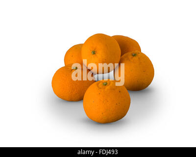 Organic Clementines Nules oranges isolated on white background - Stock Photo