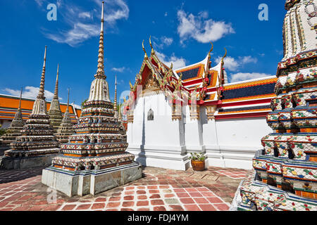 Pagodas of the Wat Pho Temple, Bangkok, Thailand. - Stock Photo