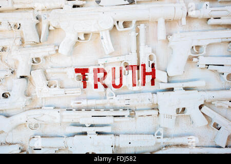 Sculptural art installation made of found objects, in a collection called 'East Jesus,' in Slab City, California - Stock Photo