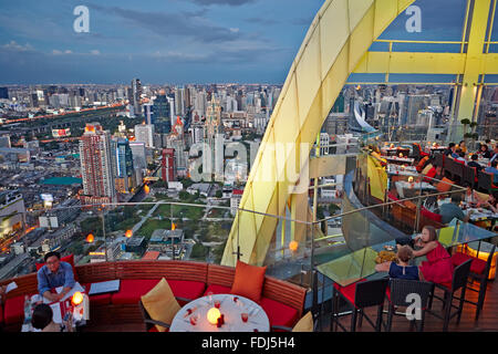 Elevated view from Red Sky Rooftop Bar. Centara Grand Hotel at CentralWorld Complex, Bangkok, Thailand. - Stock Photo