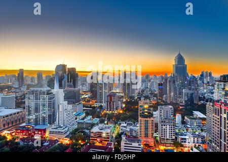 Elevated city view at sunrise. Bangkok, Thailand. - Stock Photo
