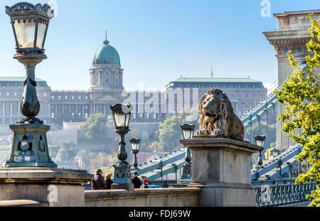 Lion on Chain Bridge with Royal Palace in background. Budapest, Hungary - Stock Photo