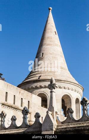 One of seven turrets of the Fisherman's Bastion, Castle Hill, Budapest, Hungary - Stock Photo