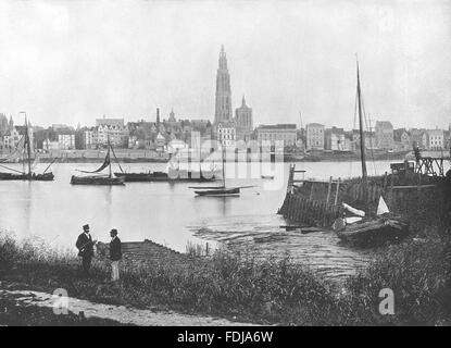 BELGIUM: Antwerp- View of River, Showing Cathedral on opposite bank, 1895 - Stock Photo