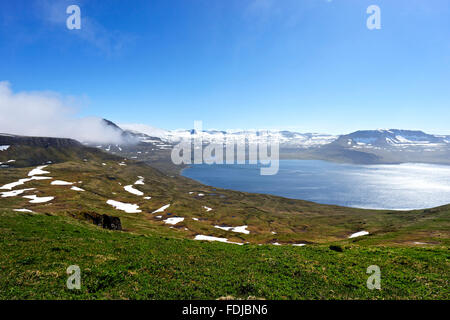 Looking over Hornvik Bay from Hombjard bird cliffs, Hornstrandir nature reserve, Westfjords, Iceland, Europe. - Stock Photo