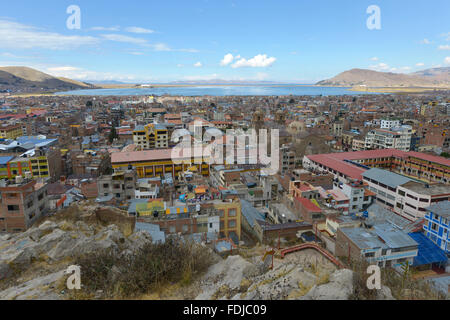 Puno, Peru. Puno located on the shore of Lake Titicaca. It is the capital city of the Puno Region. - Stock Photo