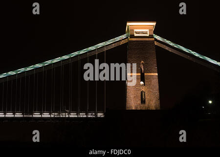 Clifton Suspension Bridge, north east tower. The Clifton tower of the famous bridge over Avon Gorge in Bristol - Stock Photo