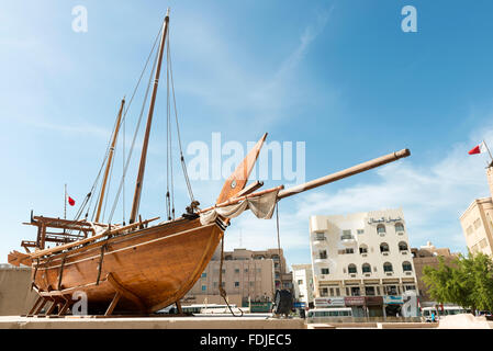 Dhow outside Al Fahidi Fort, Dubai Museum, Dubai, UAE - Stock Photo