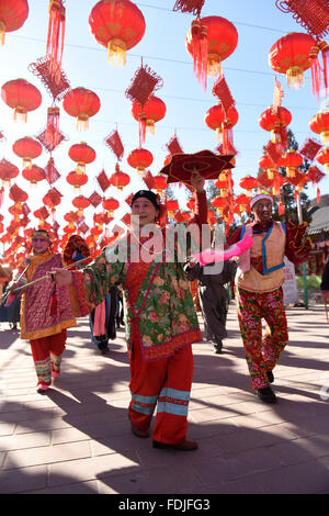Beijing, China. 1st Feb, 2016. Folk artists perform during a rehearsal for a upcoming temple fair to celebrate the - Stock Photo