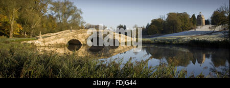 Panoramic view of the Oxford Bridge on a frosty day at Stowe Landscape Gardens, Buckinghamshire.