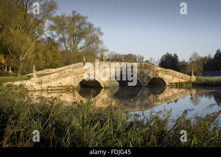 The Oxford Bridge on a frosty day at Stowe Landscape Gardens, Buckinghamshire.